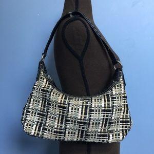 The Sak Leather-Trim Woven Shoulder Bag